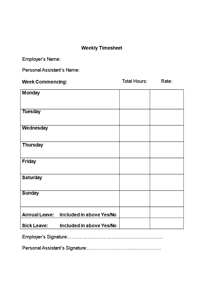 simple timesheet template - Weekly Timesheet Template