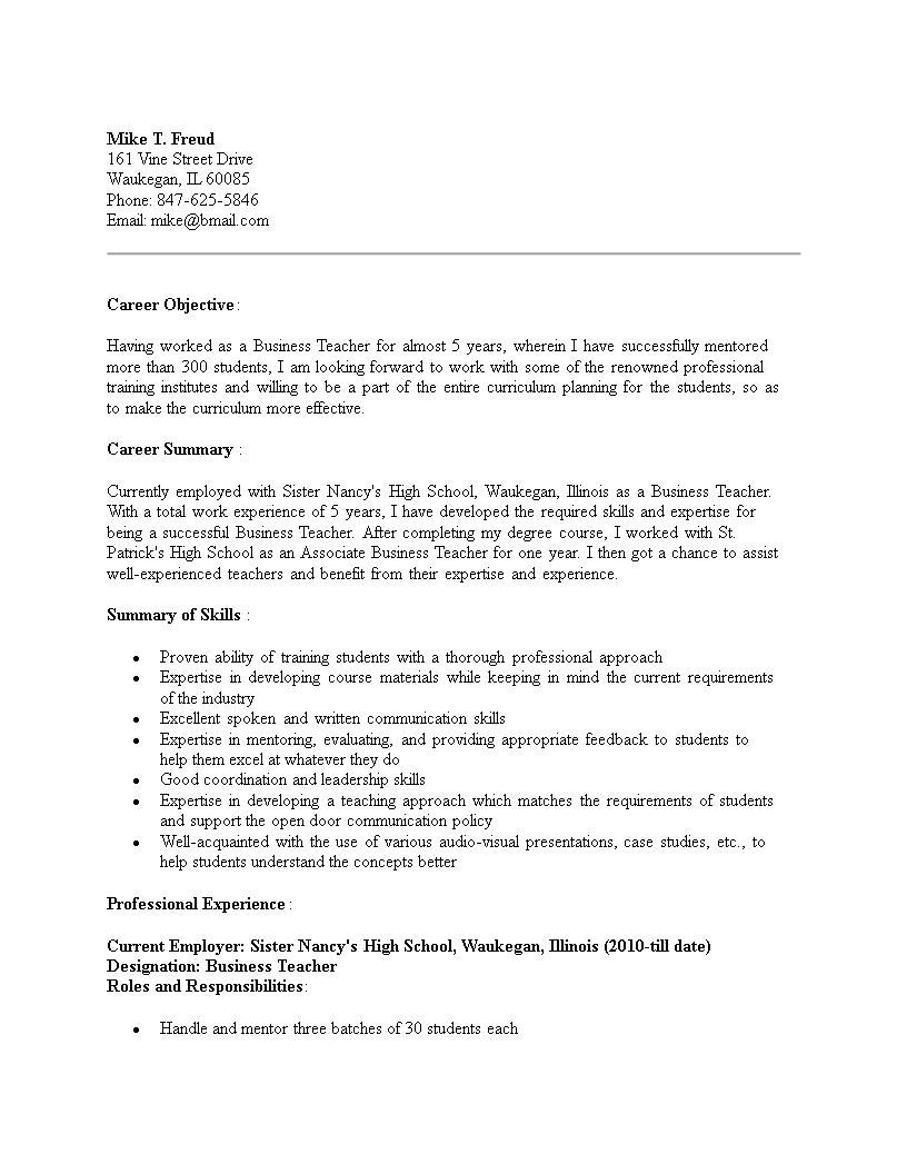 business teacher resumes