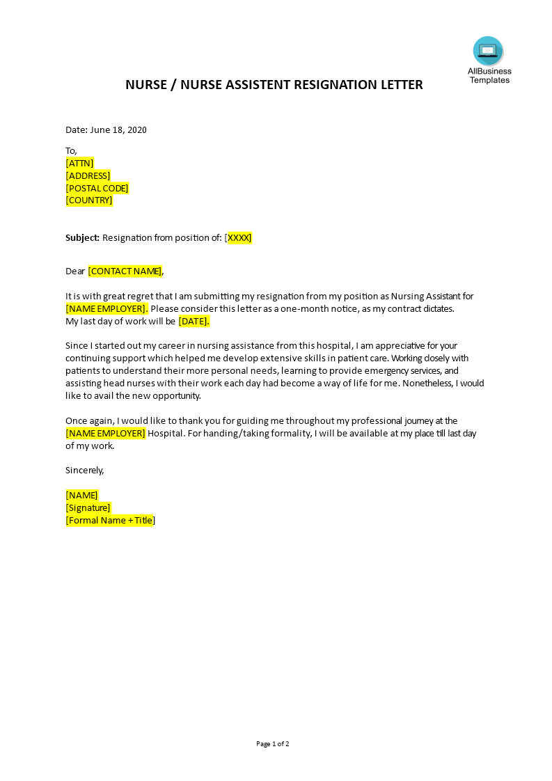 Nurse Resignation Letter Example from www.allbusinesstemplates.com