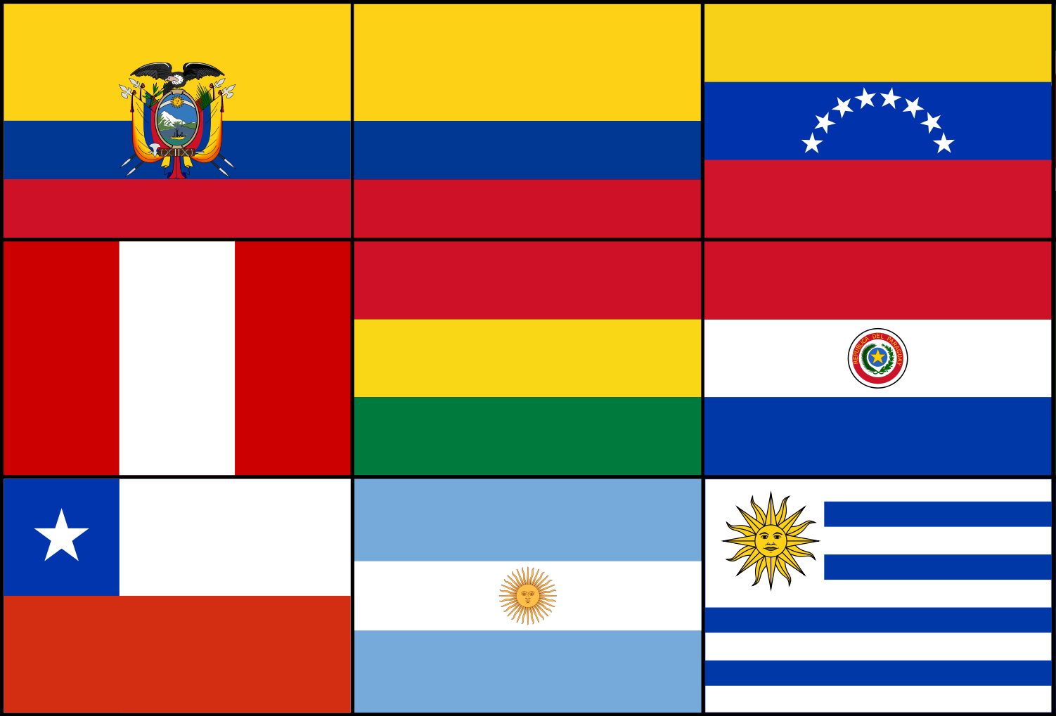 template topic preview image South-American printable flags template