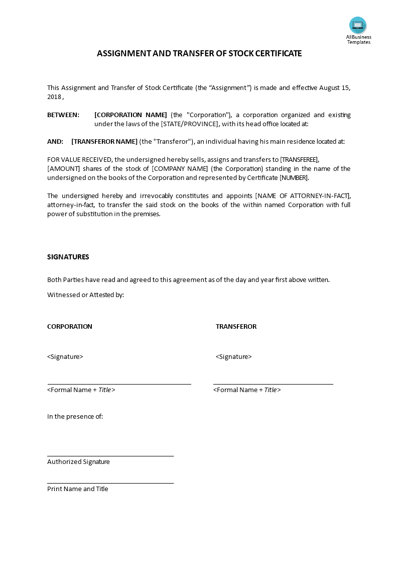 Assignment And Transfer Of Stock Certificate Templates At