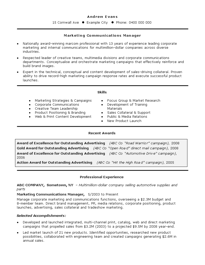 Free Marketing Manager Job Resume | Templates at ...