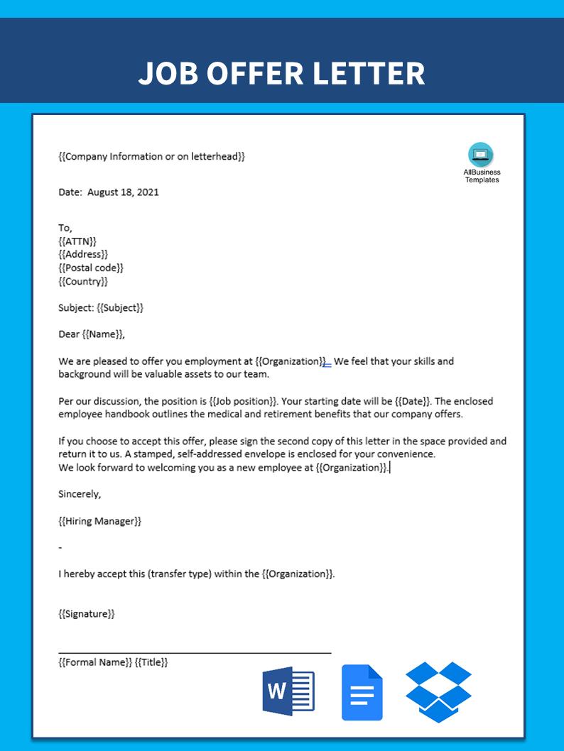 Free sample offer letter internal transfer template for Internal transfer letter template