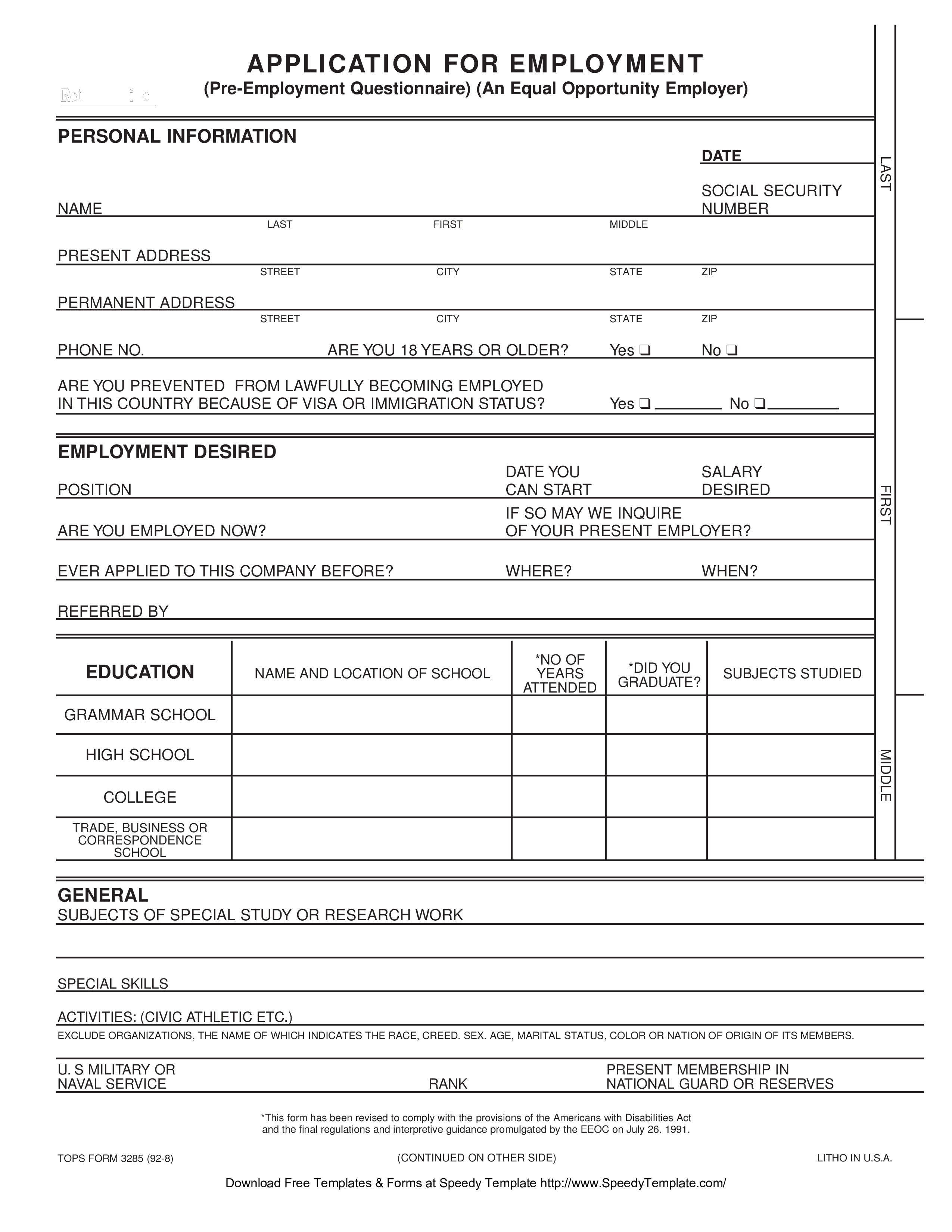 free blank employment application form sample templates at