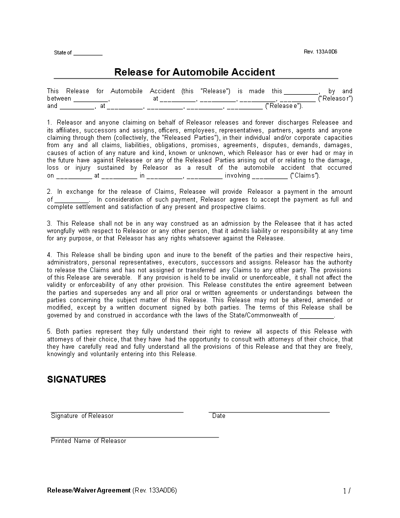 Free Auto Accident Release Waiver Agreement