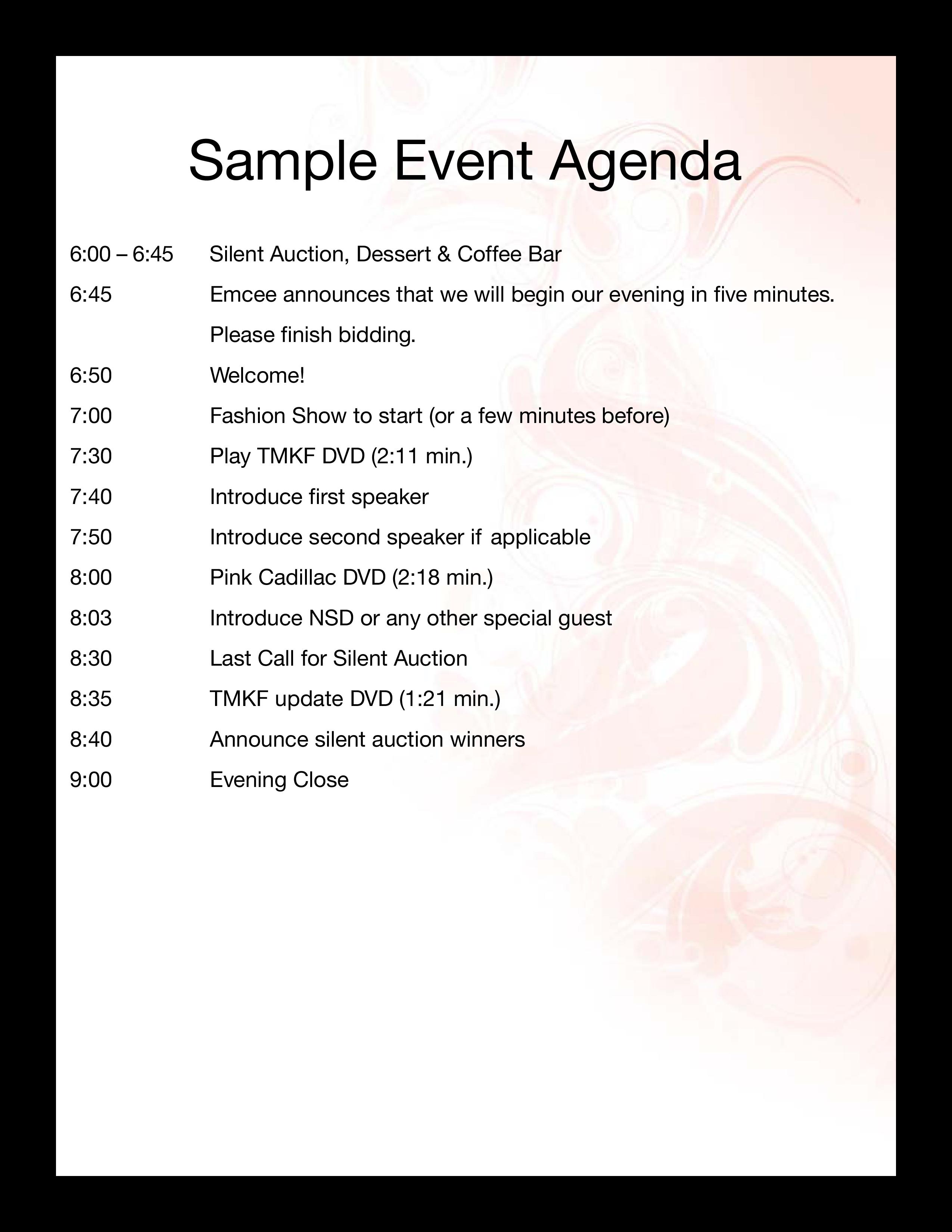 Sample Event Agenda  Templates at allbusinesstemplates.com Pertaining To Free Event Program Templates Word
