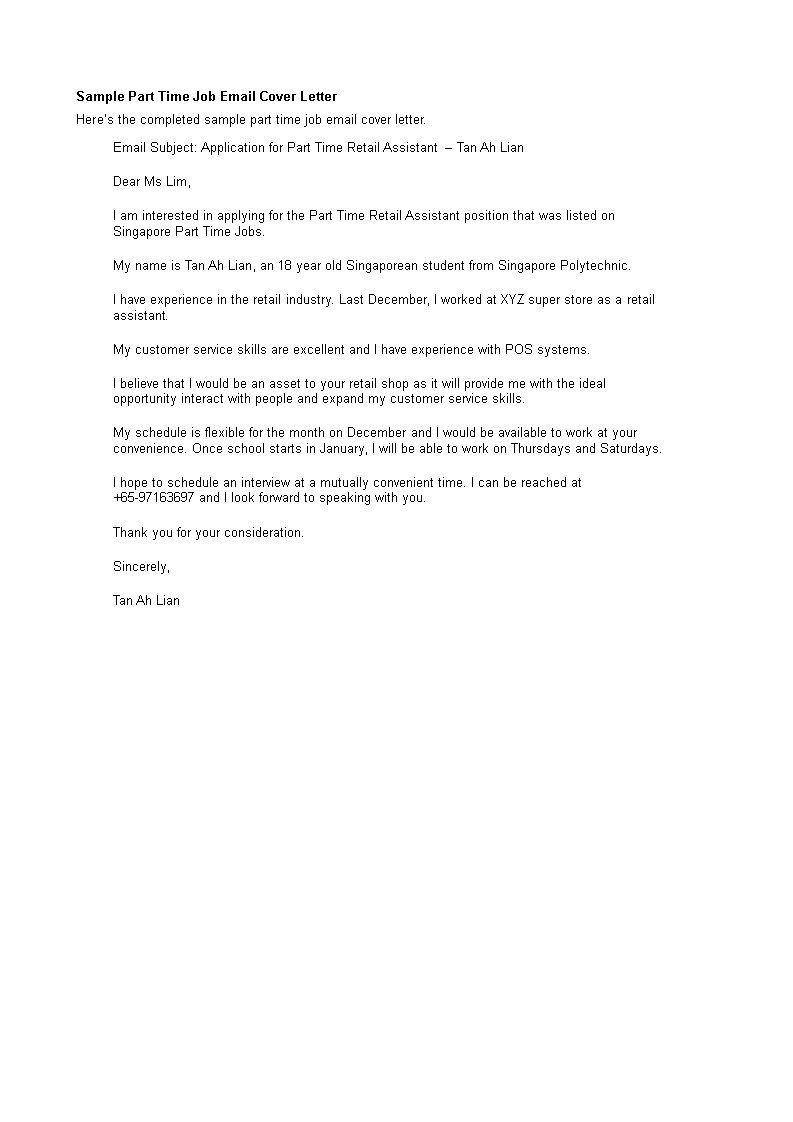 Part Time Job Application Email Sample | Templates at