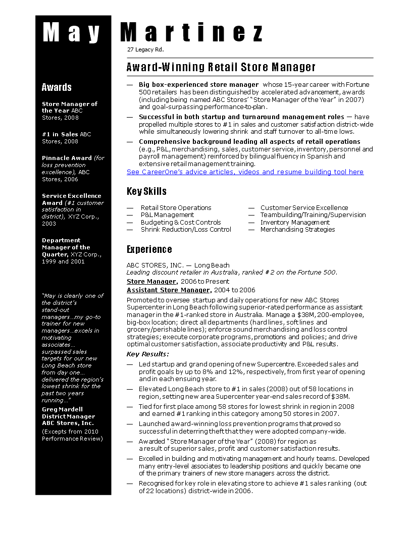 Retail Store Manager Resume Templates At Allbusinesstemplates