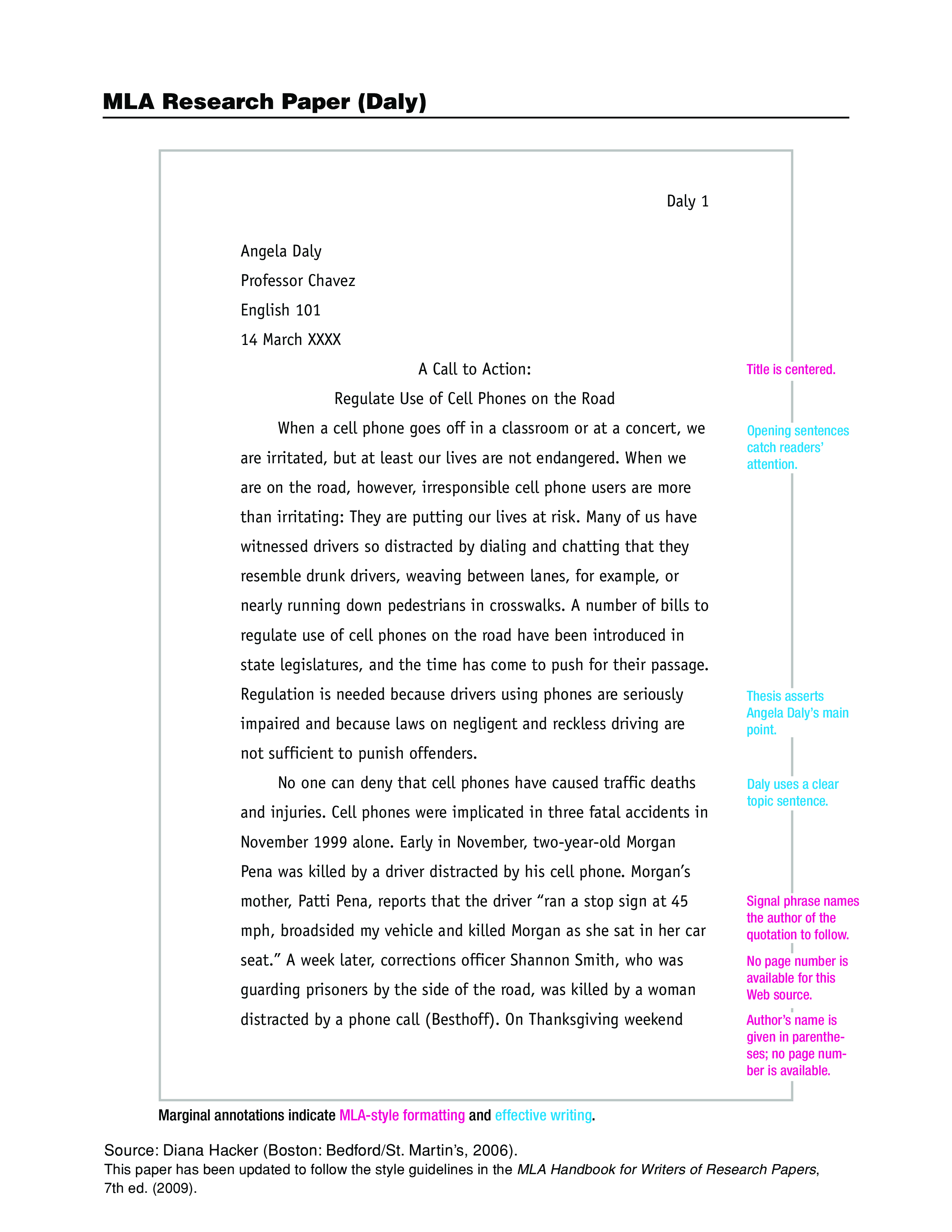 mla format sample research paper
