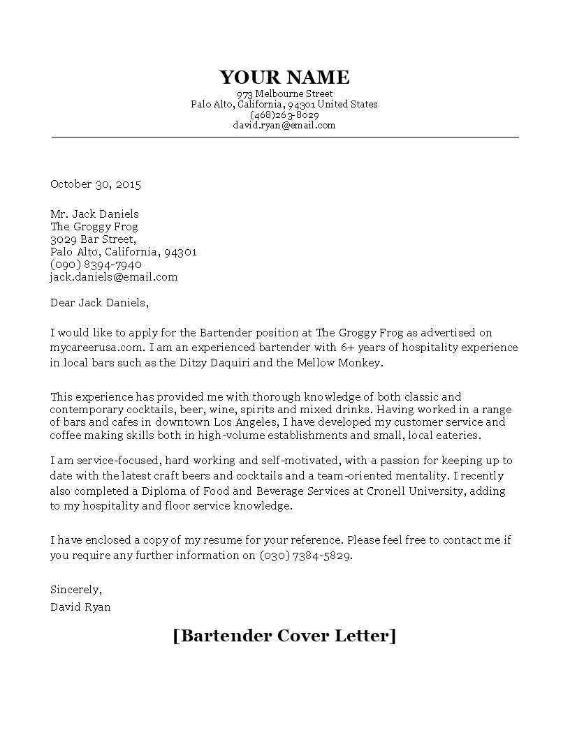 free bartender cover letter sample templates at