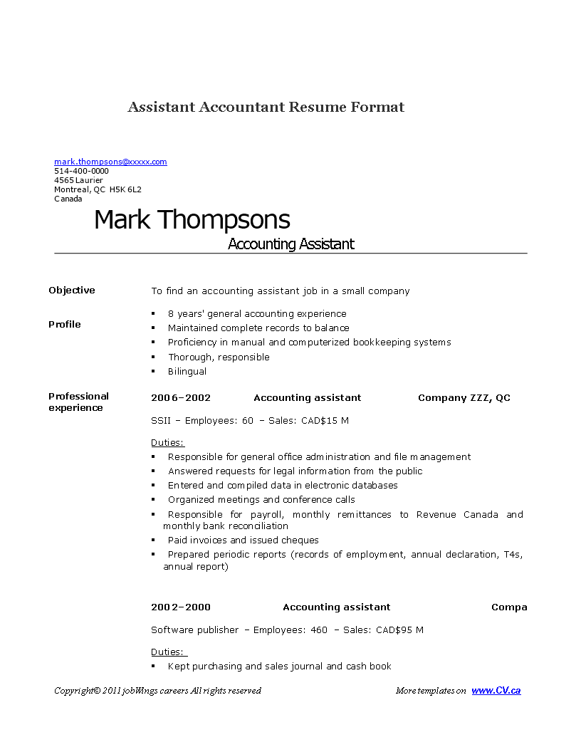 Free Assistant Accountant Resume | Templates at allbusinesstemplates.com