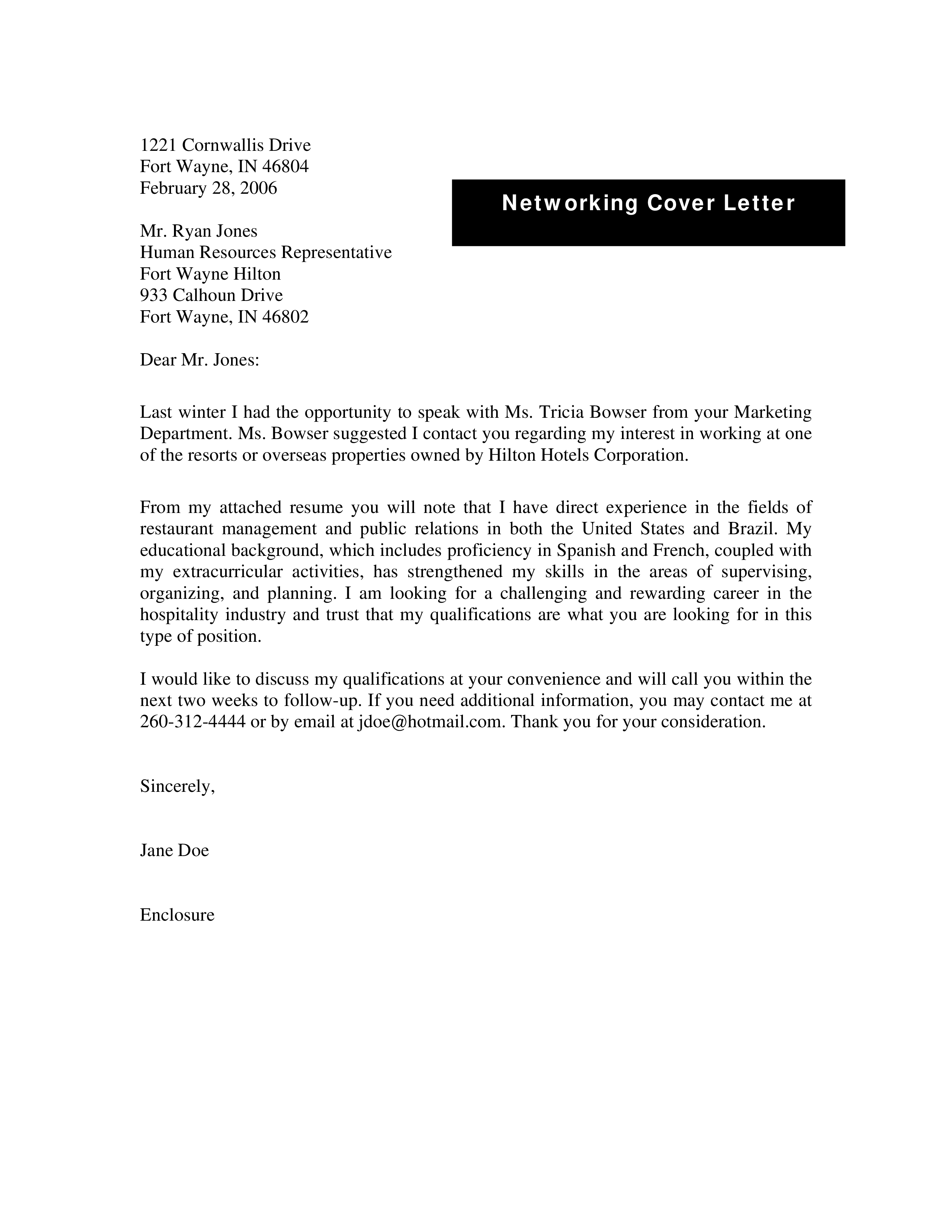 Free Networking Cover Letter Templates At Allbusinesstemplates Com