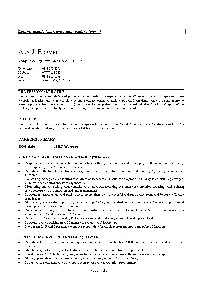 Sample Customer Service Manager Resume Templates At