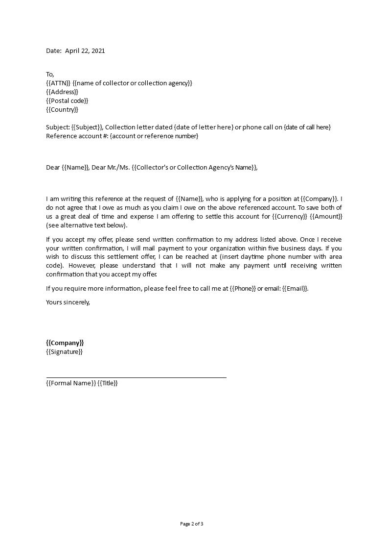 debt settlement letter templates at allbusinesstemplates