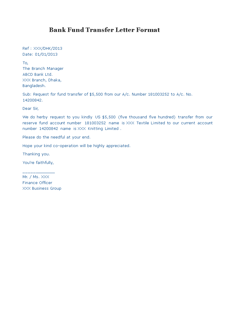 bank fund transfer letter format main image