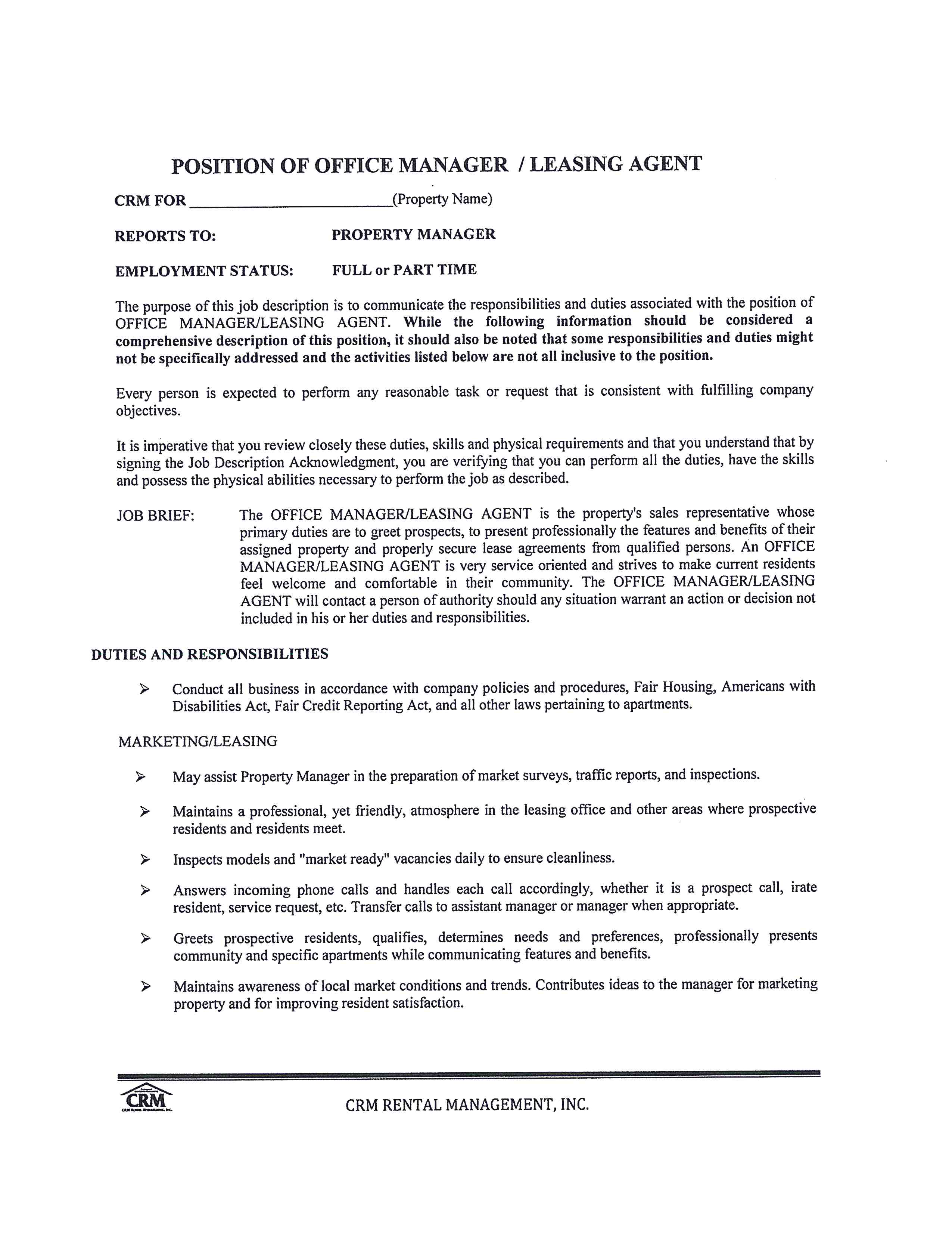 Free Office Manager Leasing Consultant Job Description Templates