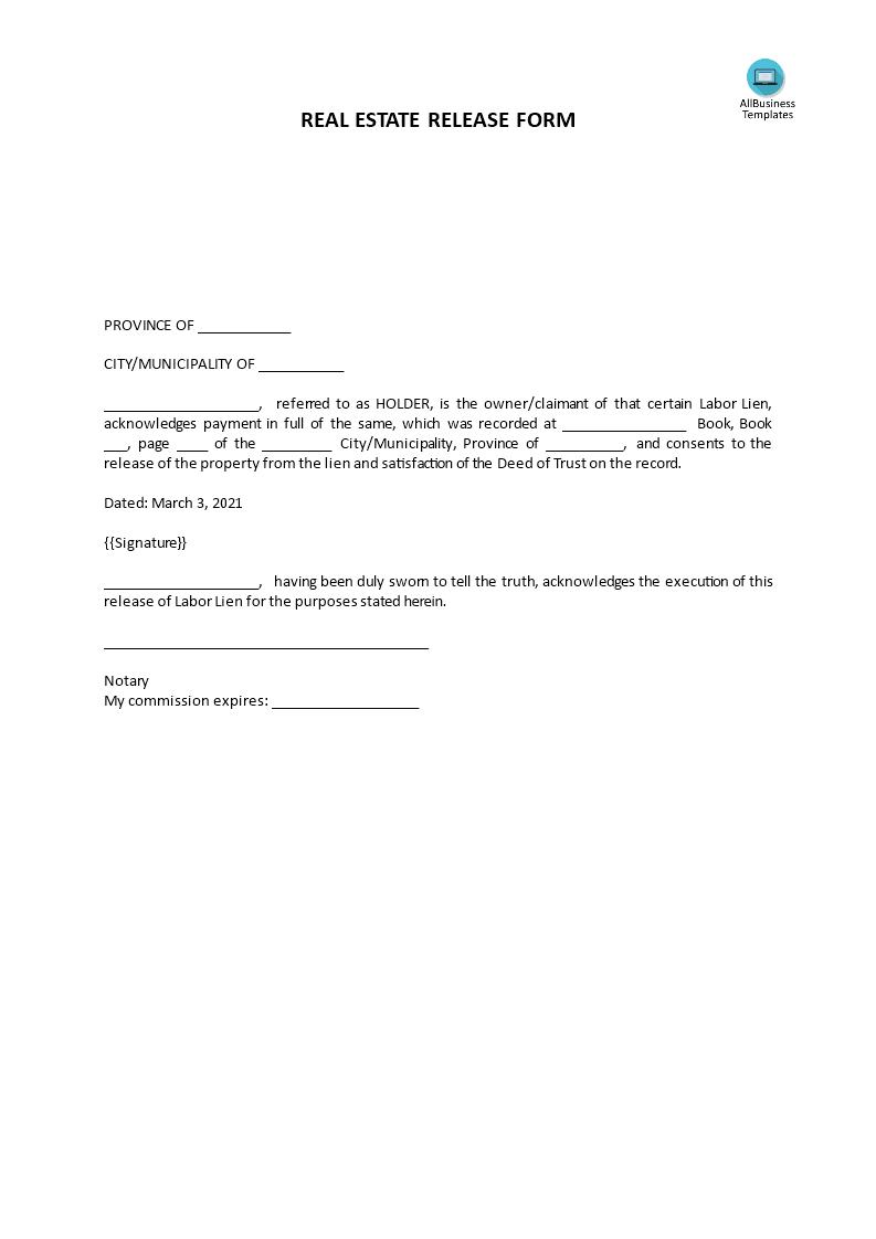 Real Estate Lien Release Form   Premium Schablone