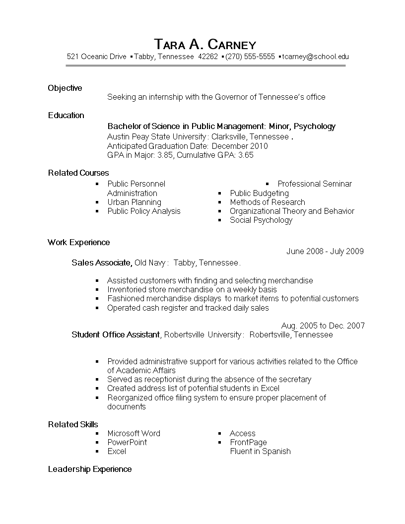 Sample Internship Resume main image