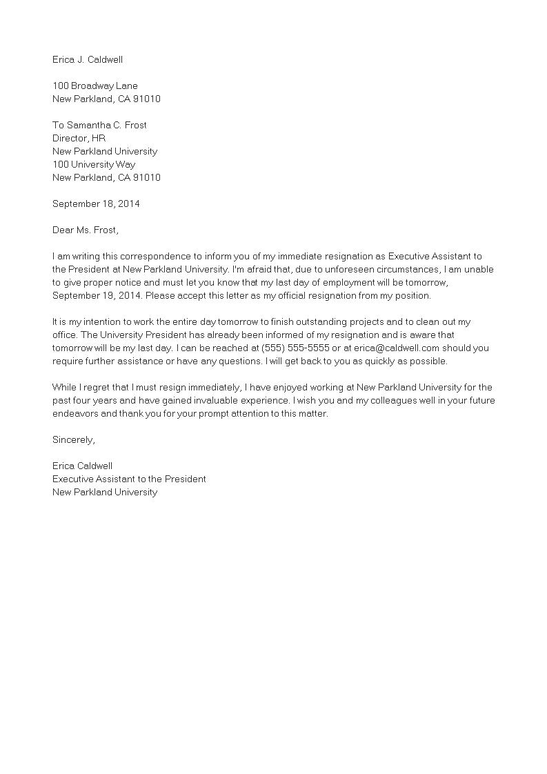 Free Immediate Job Resignation Letter Templates At