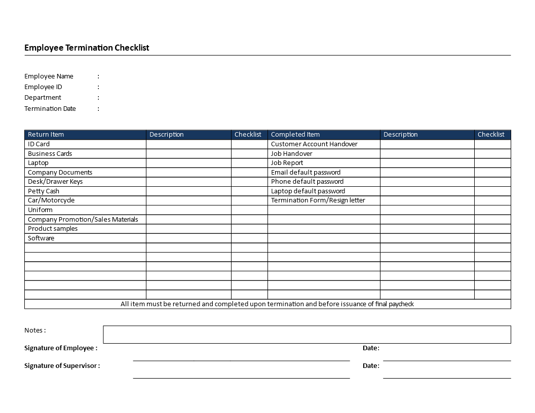 Employee Termination Checklist Landscape Formatted Template Main Image  Employee Termination Template