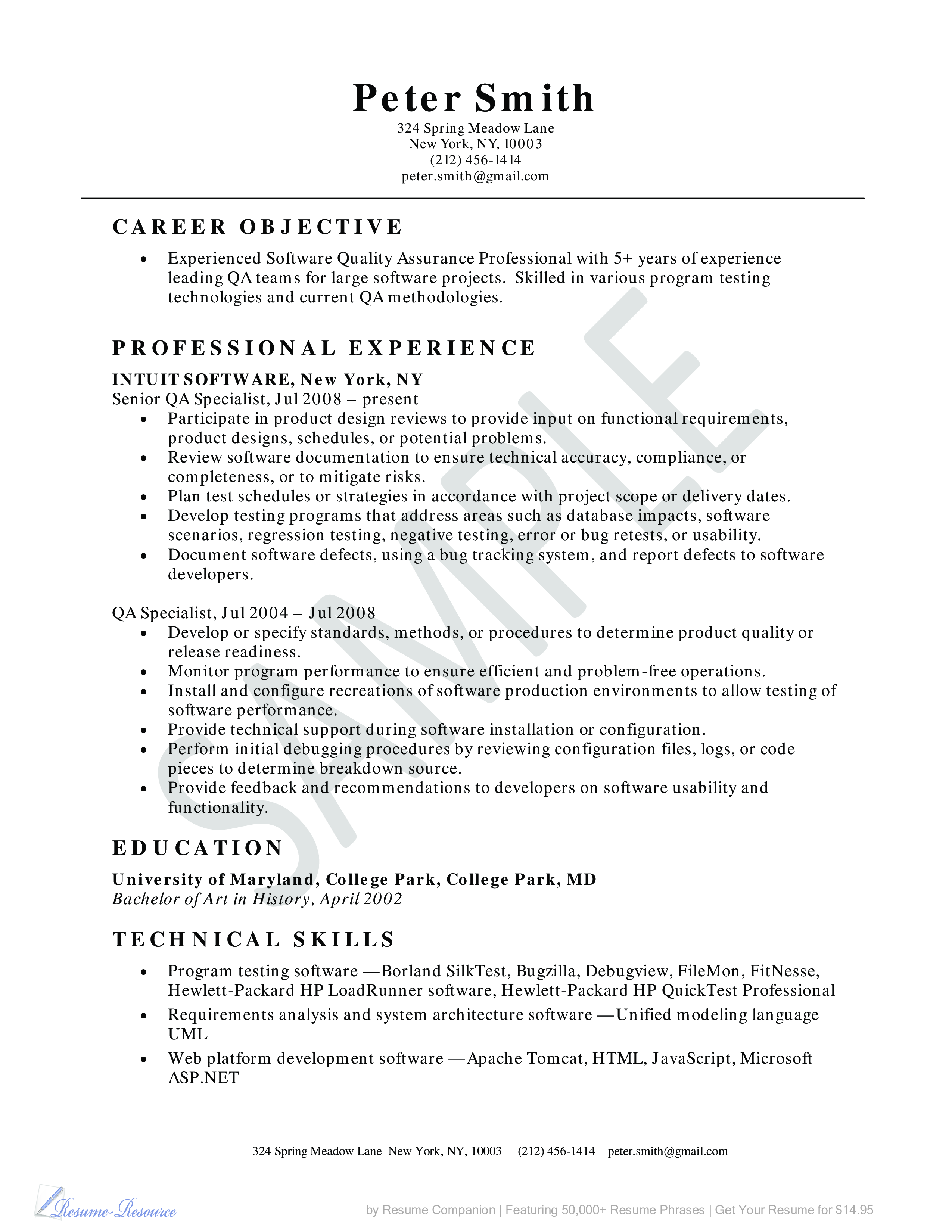 Quality Assurance Resume Example | Templates at ...