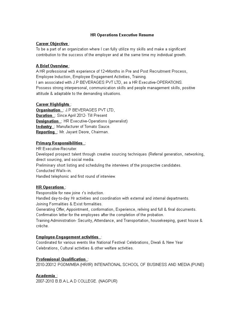 Télécharger Gratuit HR Operations Executive Resume