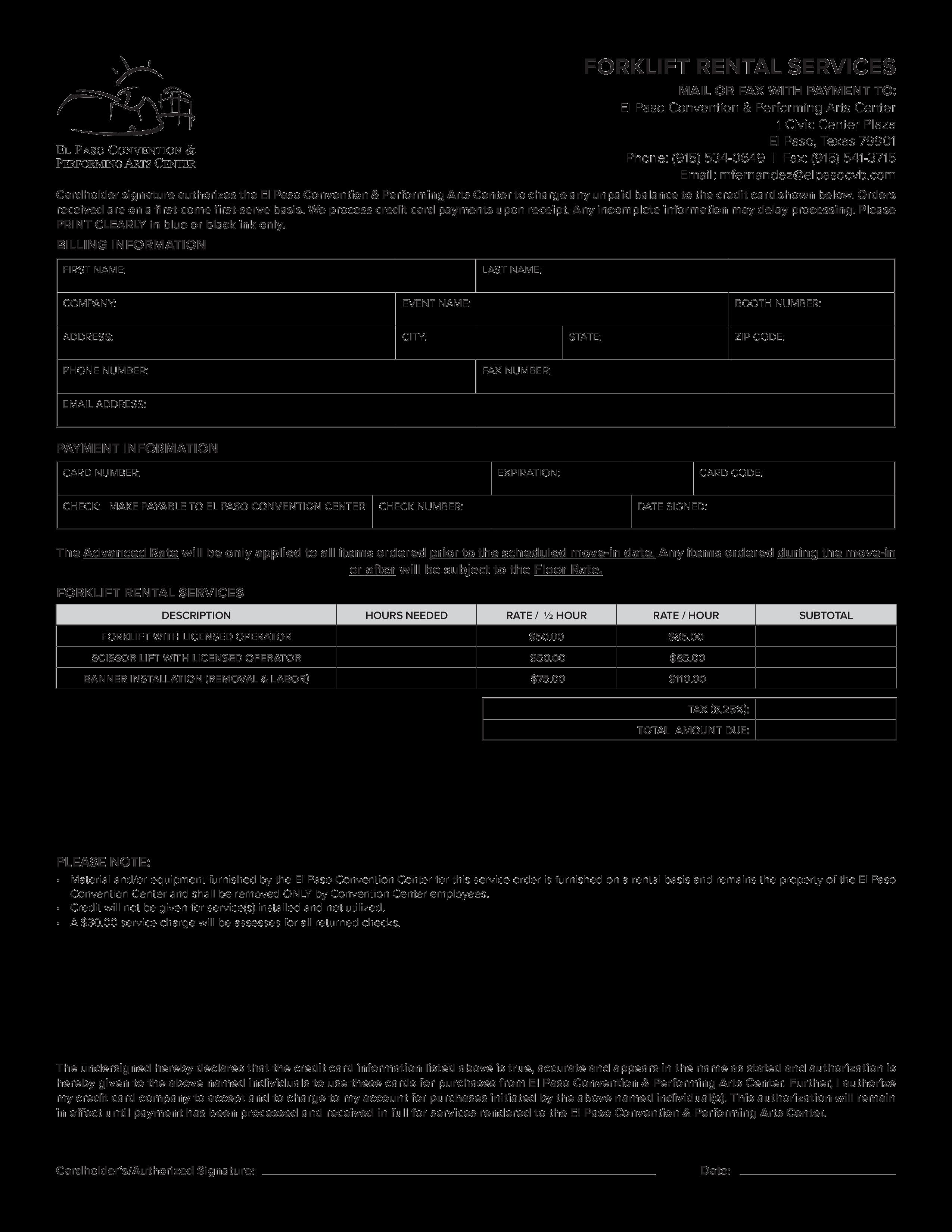 免费Rental Services Order Form Pdf Template | 样本文件在 ...
