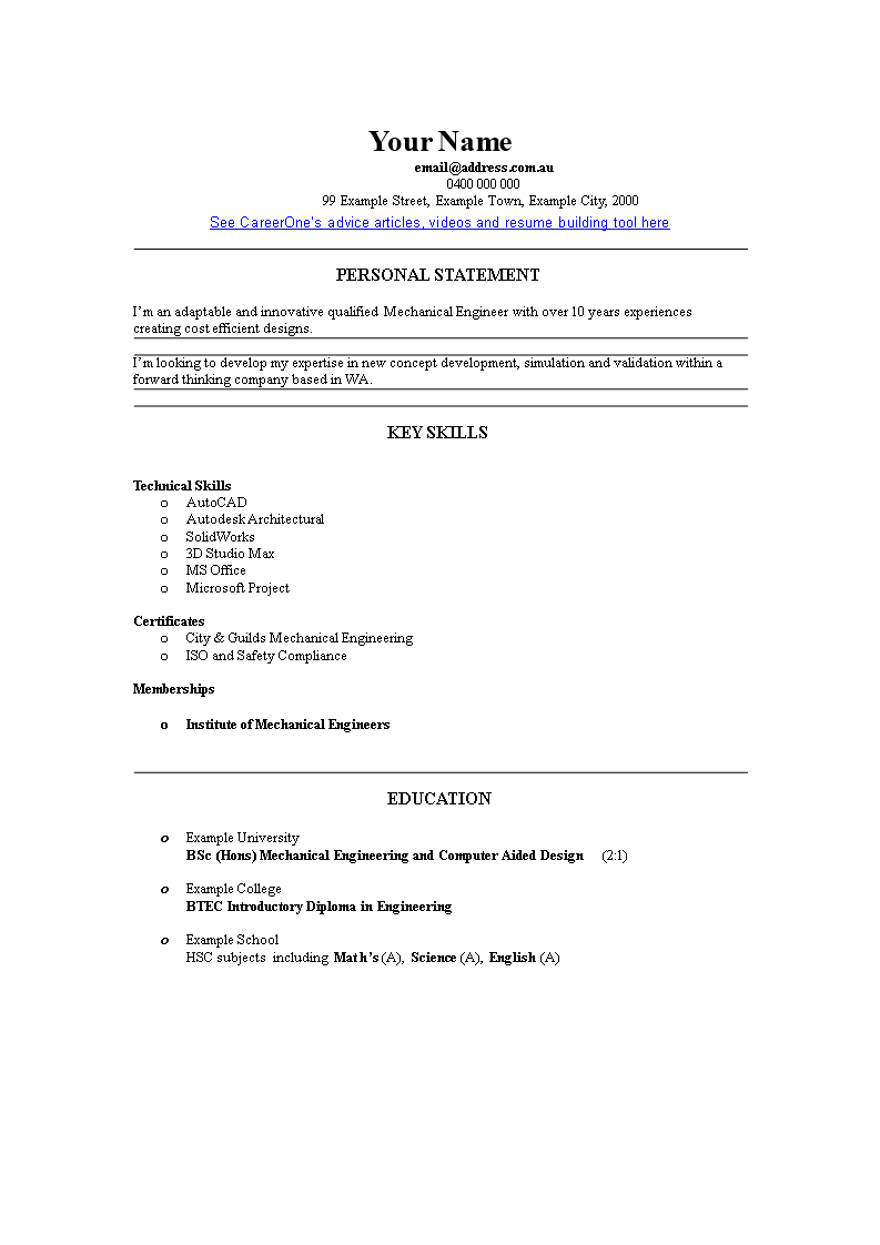 Experienced Engineer Resume Format main image