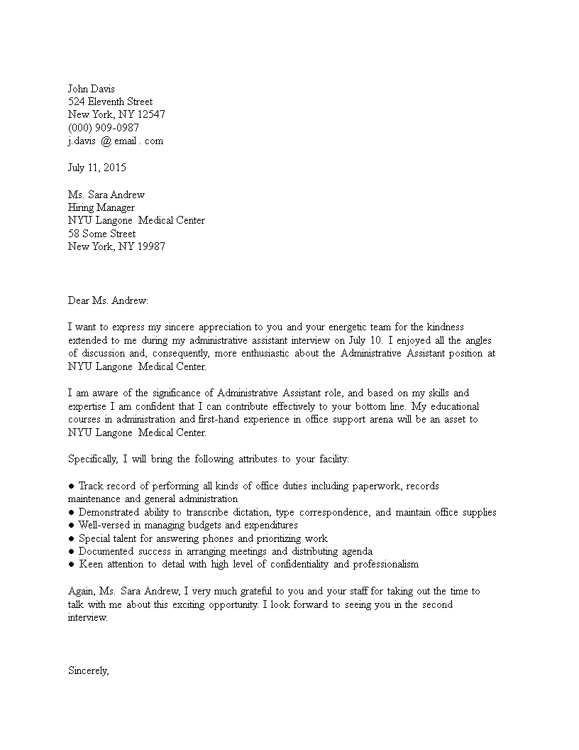 Free Thank You Letter For Job Interview Administrative Assistant
