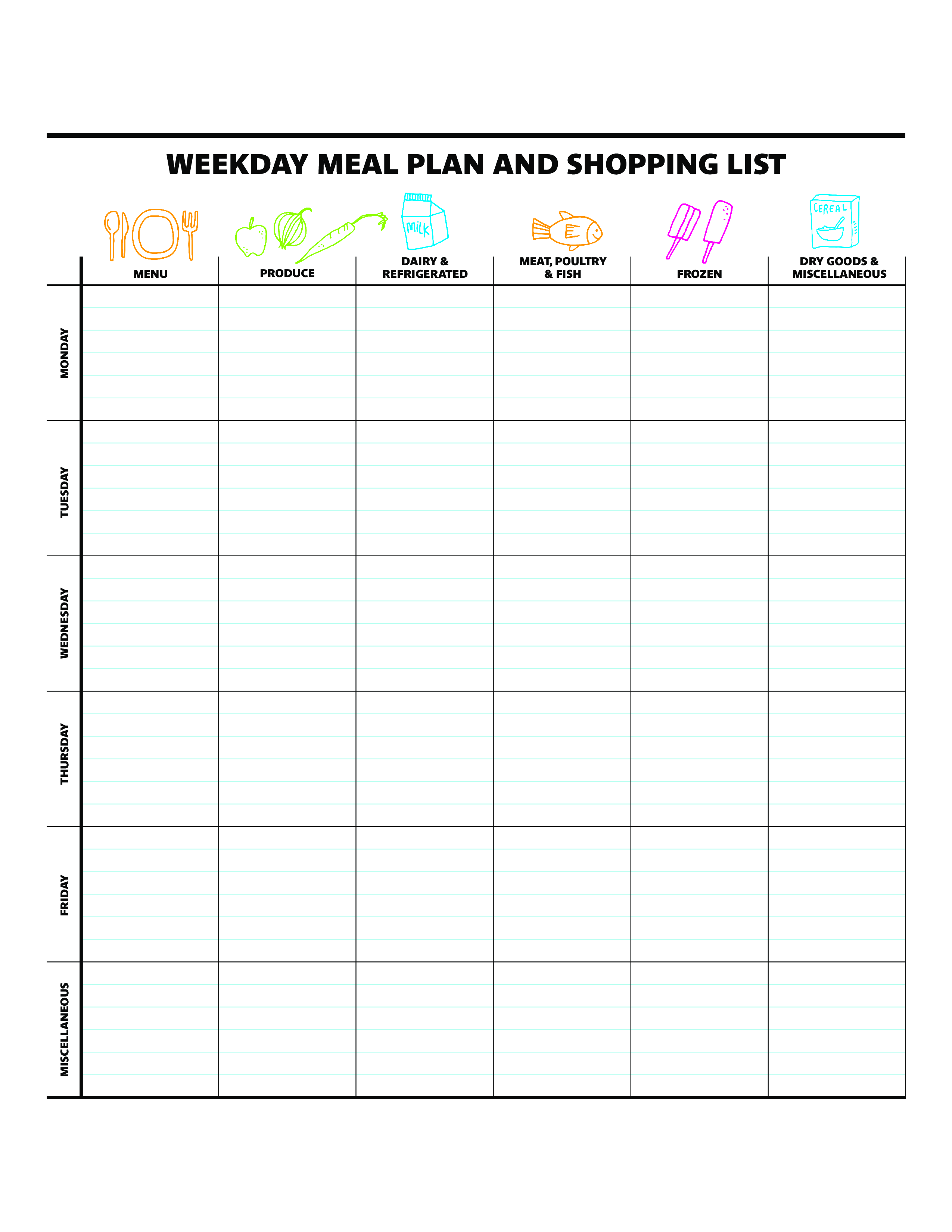 free weekly dinner meal planner templates at