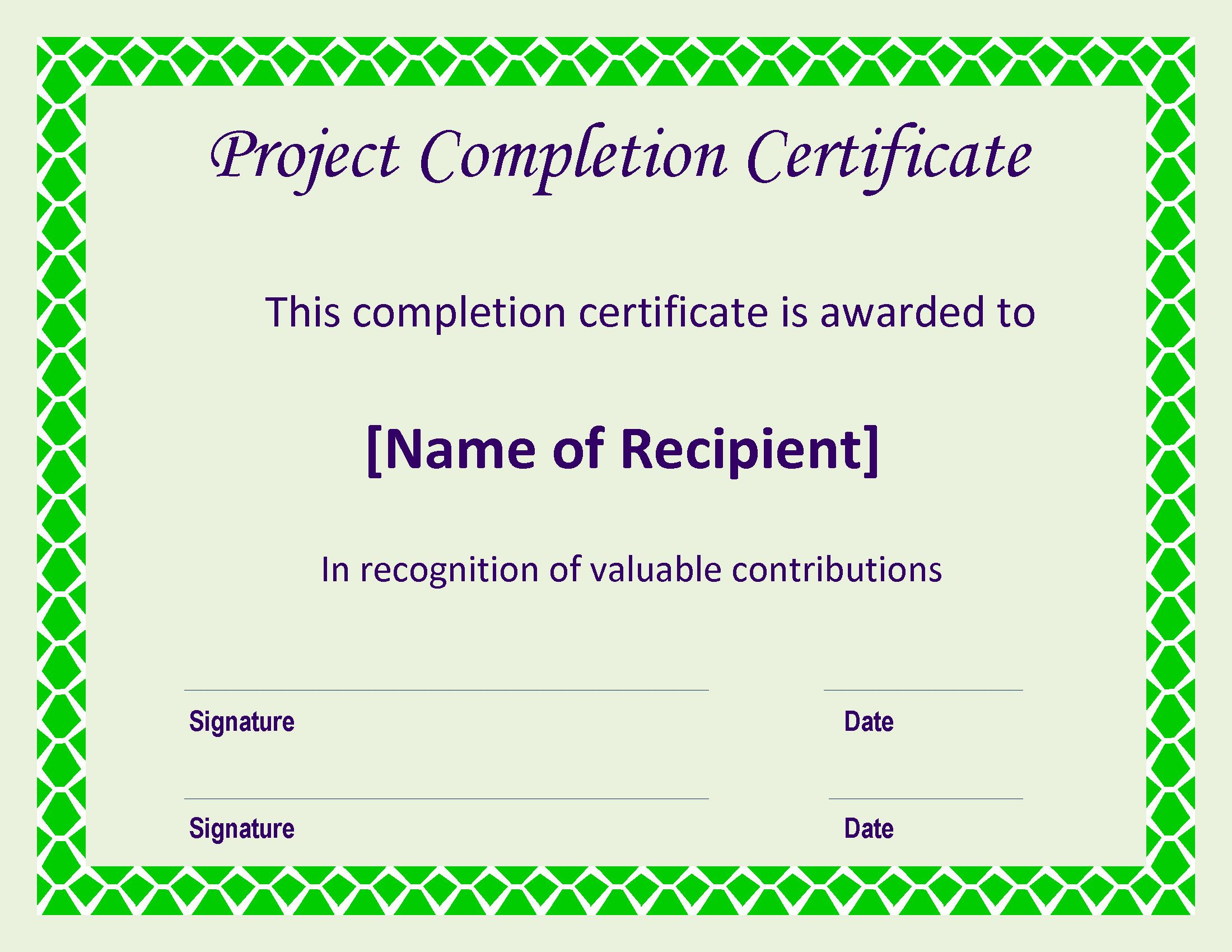 Free certificate of completion project templates at certificate of completion project main image download template xflitez Gallery
