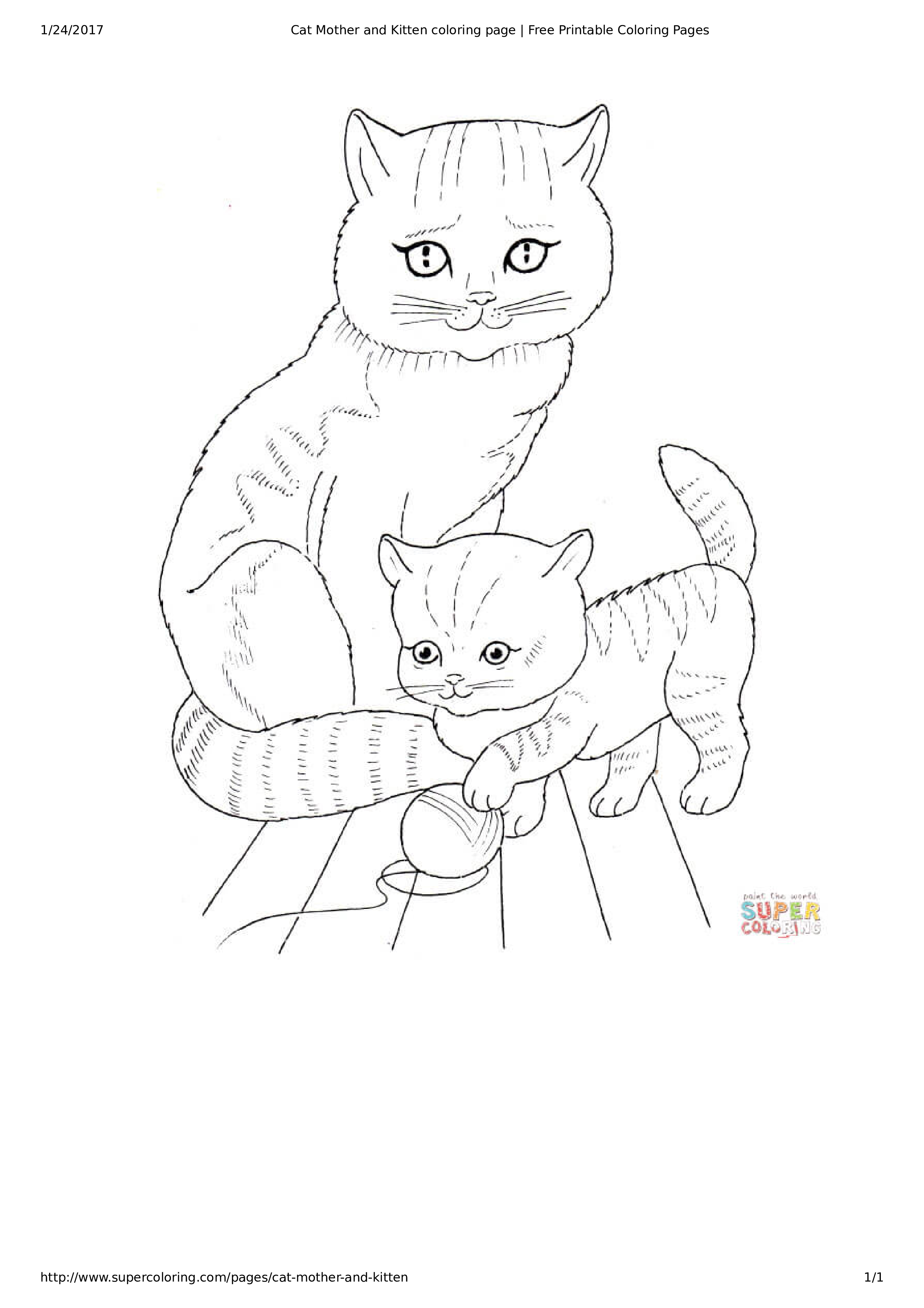 Free Cat And Kitten Coloring Page Templates At