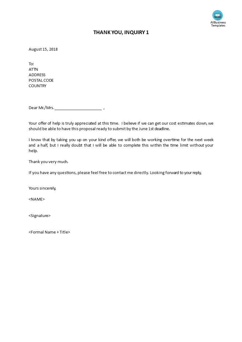thank you letter inquiry for products