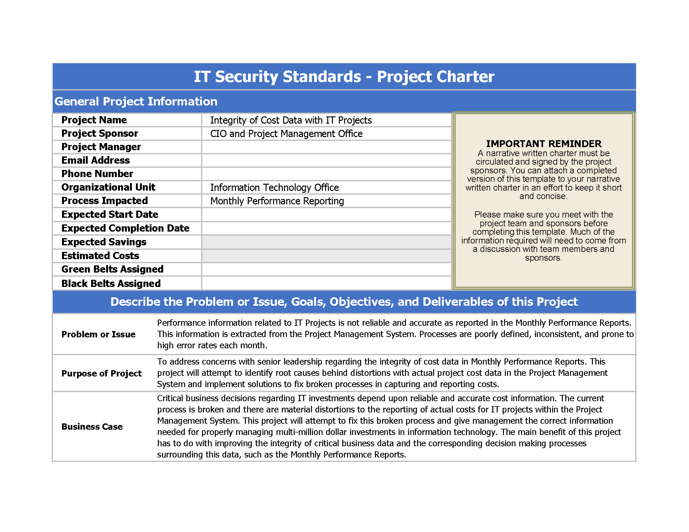 IT Security Compliance Project Charter main image