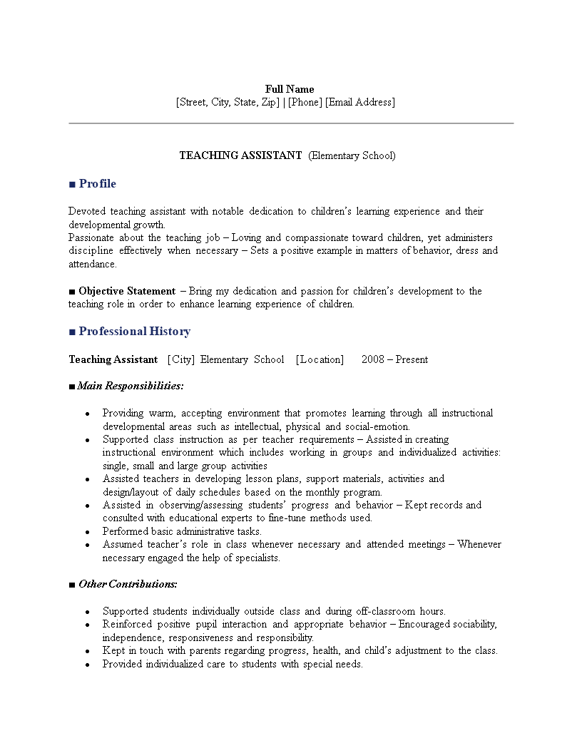 elementary teacher assistant resume  templates at