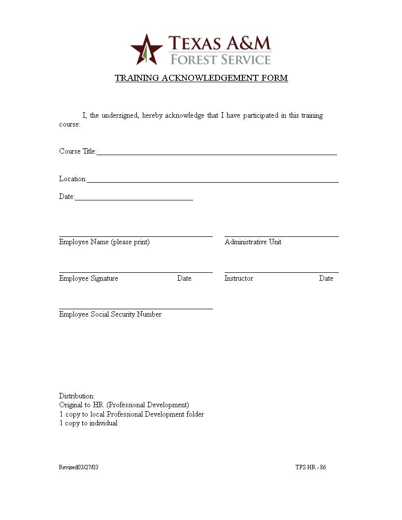 Training Acknowledgment Form Templates At Allbusinesstemplates Com