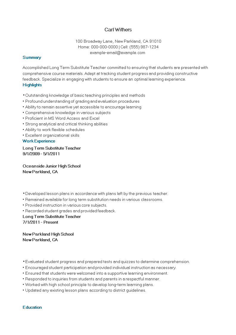 long term substitute teacher resume sample main image