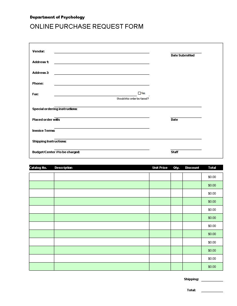 Free Online Purchase Order Request | Templates at ...