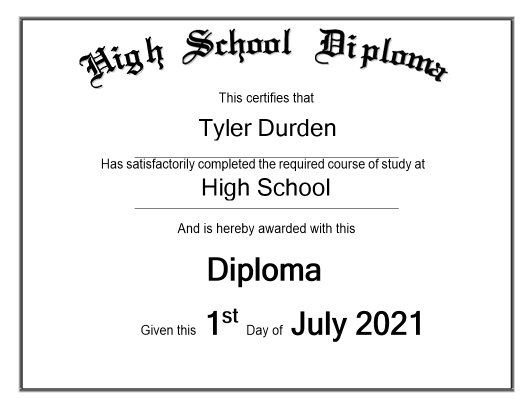 High School Diploma sample - Premium Schablone Intended For Graduation Certificate Template Word