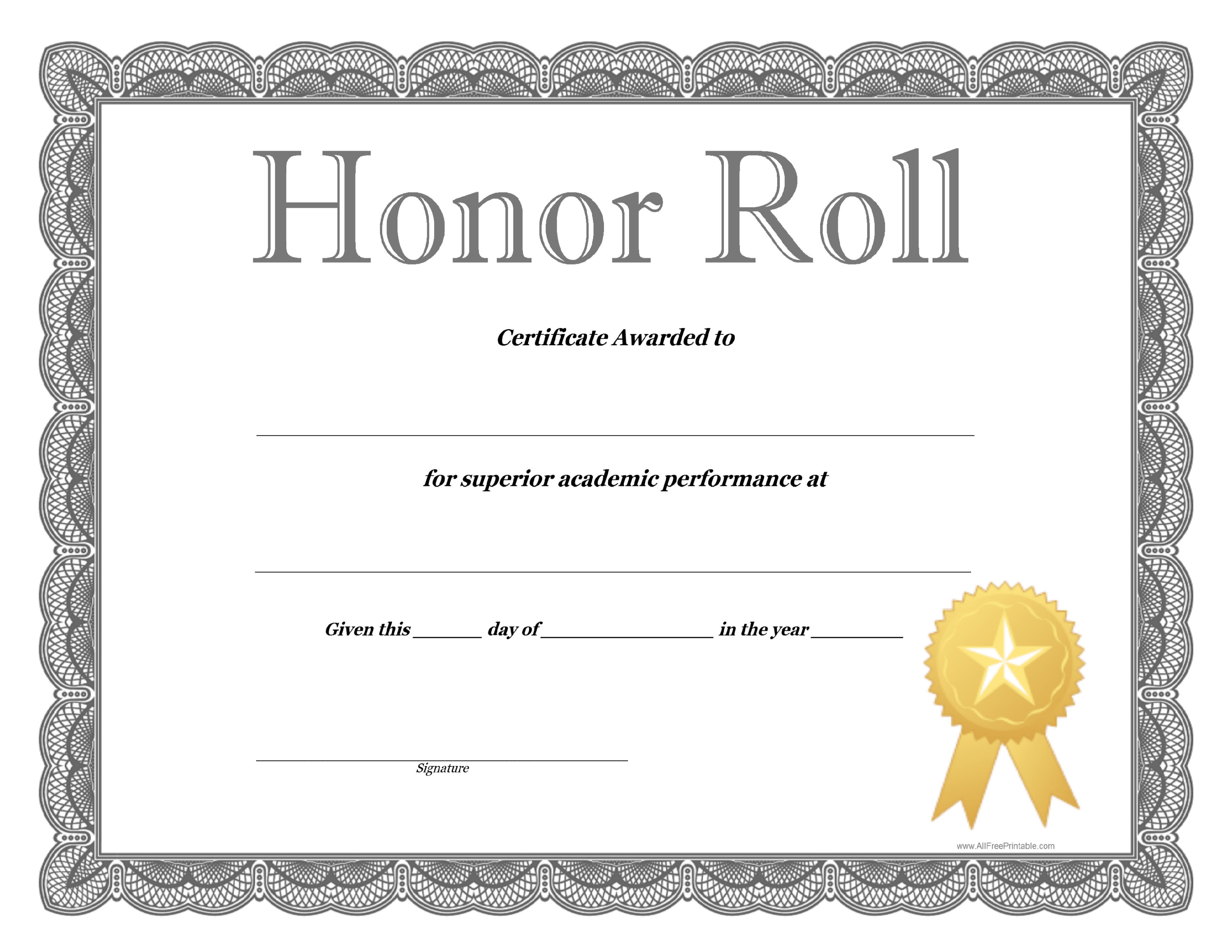 Free Honor Roll Certificate Template Templates At