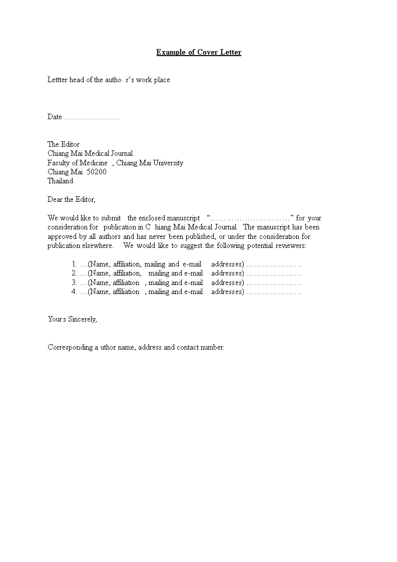 free medical journal cover letter templates at