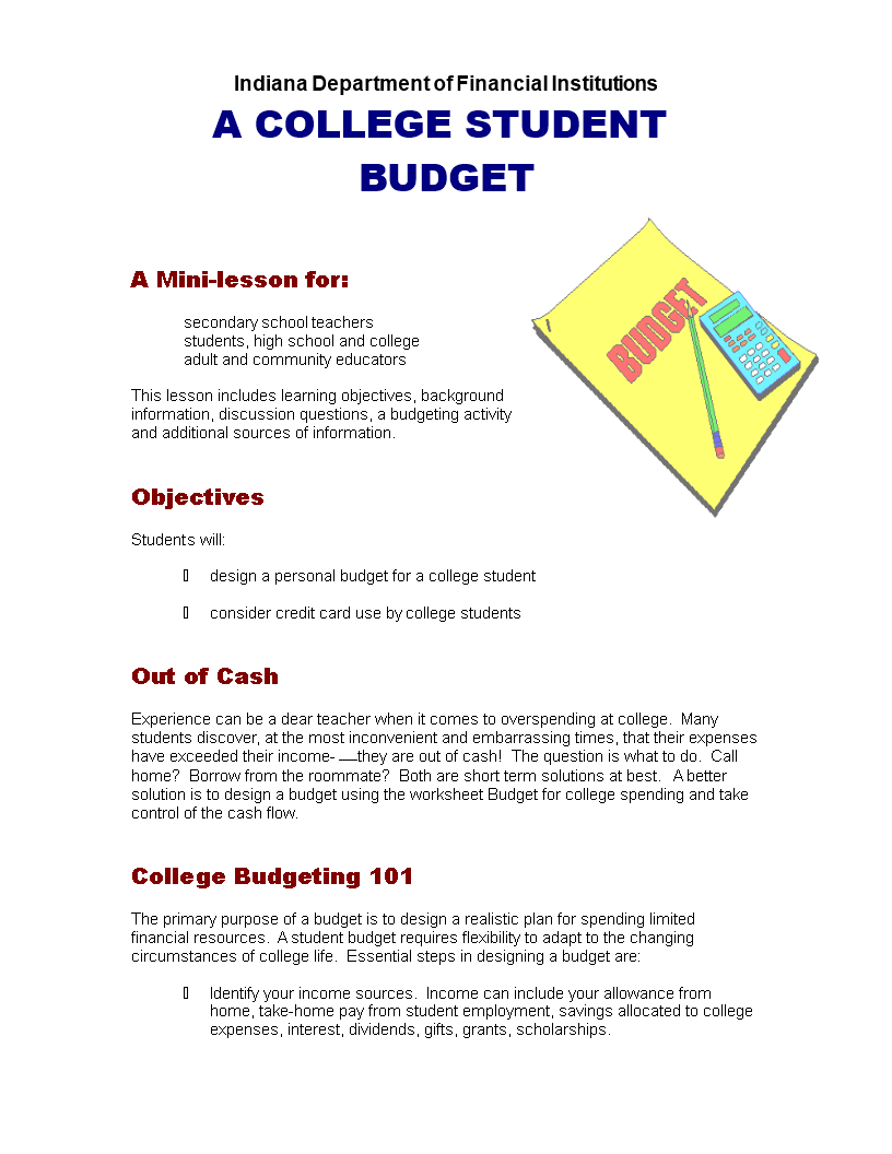 Free Printable College Budget Planner Templates at