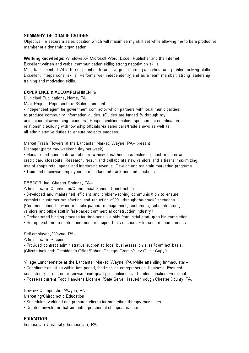 免费sales Project Coordinator Resume Template 样本文件在