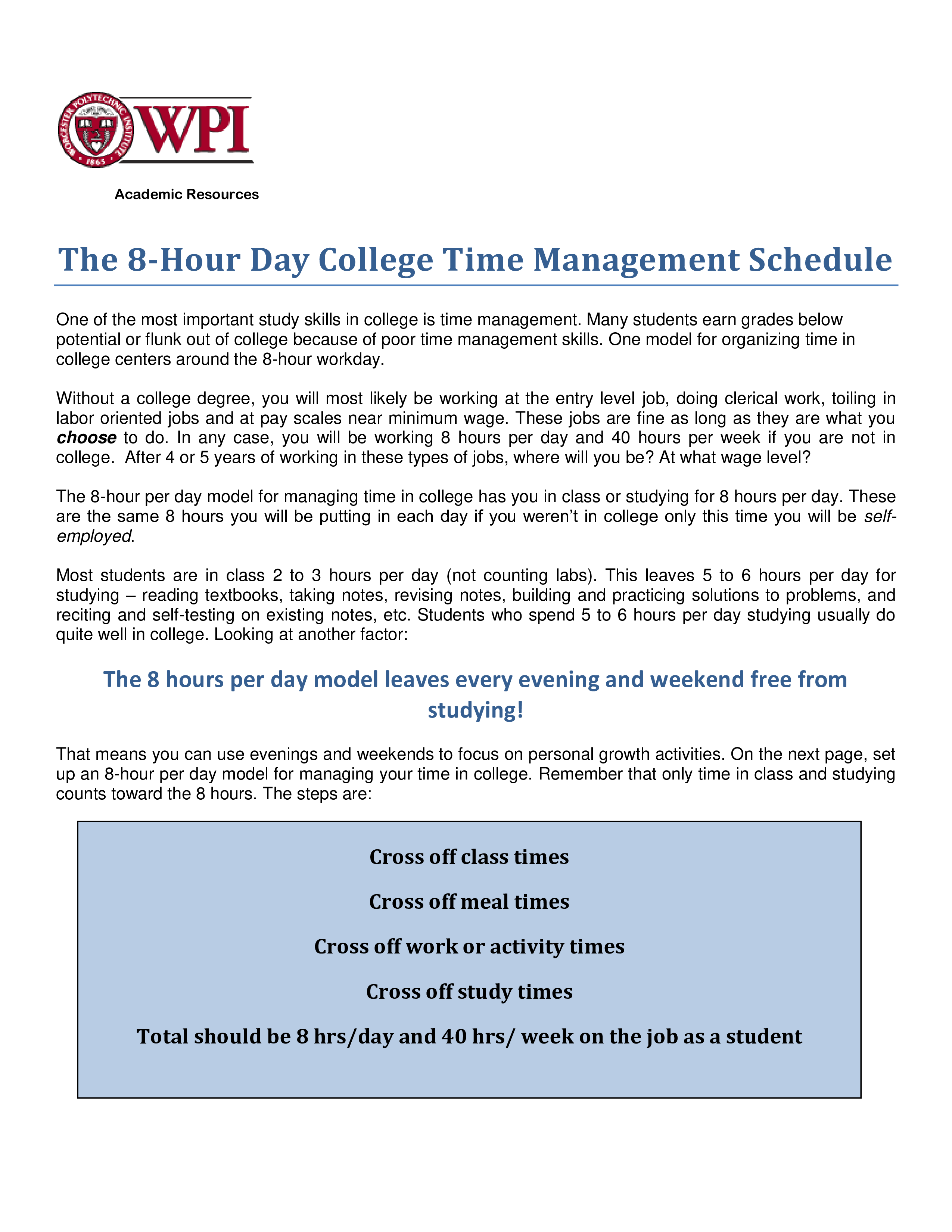free college hourly planner templates at