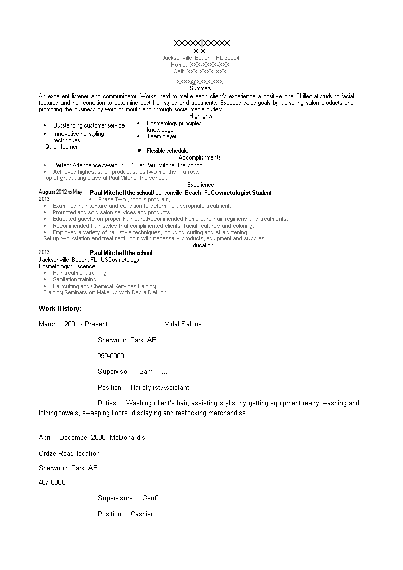 Lovely Cosmetology Student Resume Ideas - Entry Level Resume ...