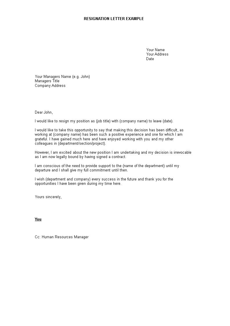 Free Official Resignation Letter To Manager Templates At