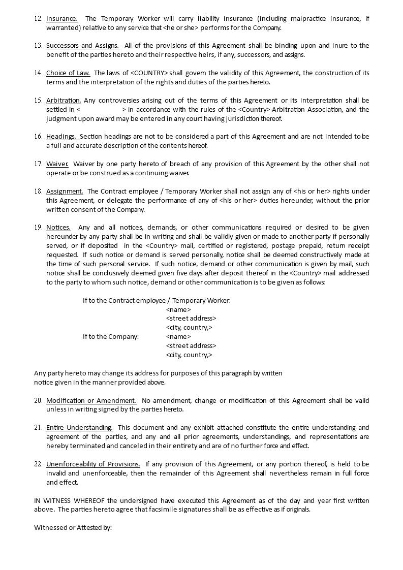 Employee Agreement Template Premium Schablone