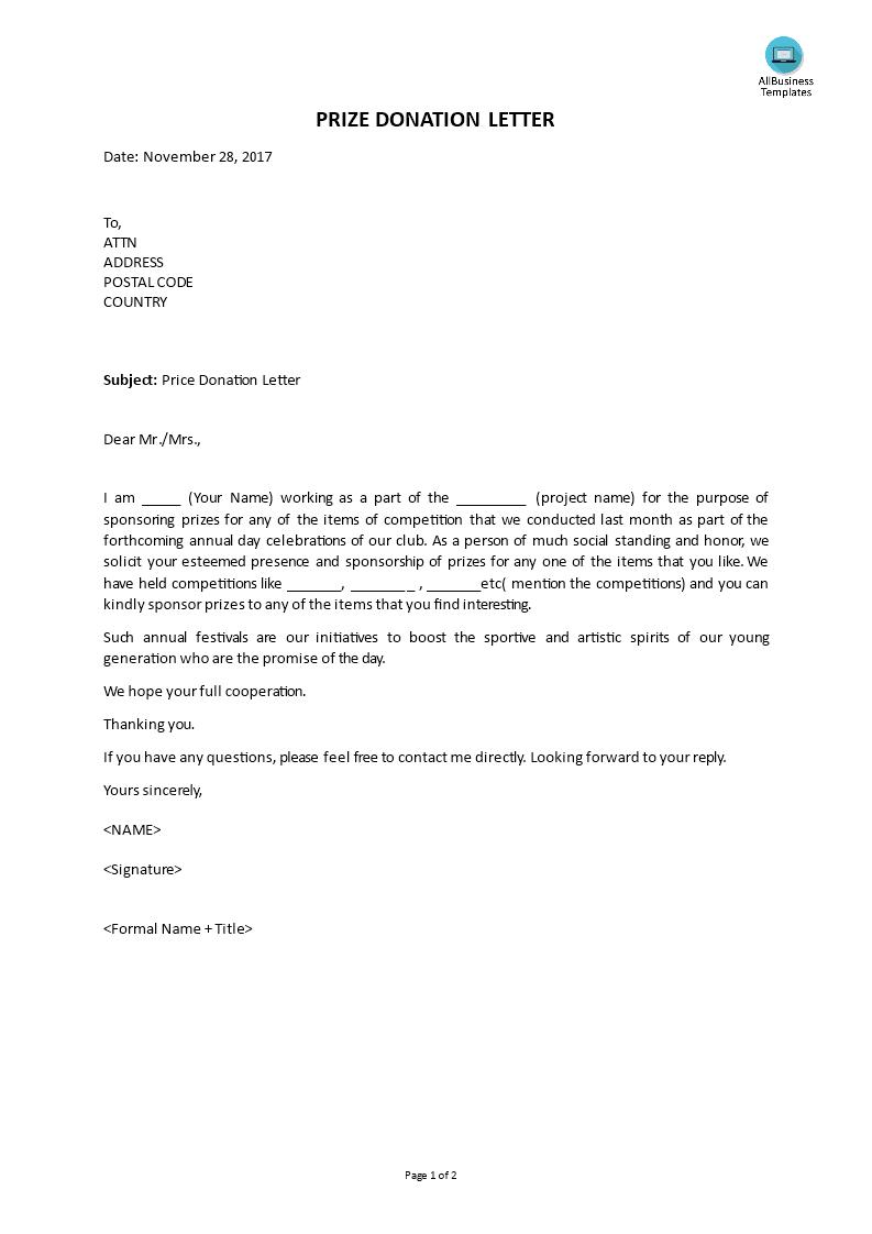 prize winner letter template
