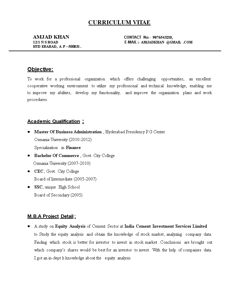 mba finance fresher resume