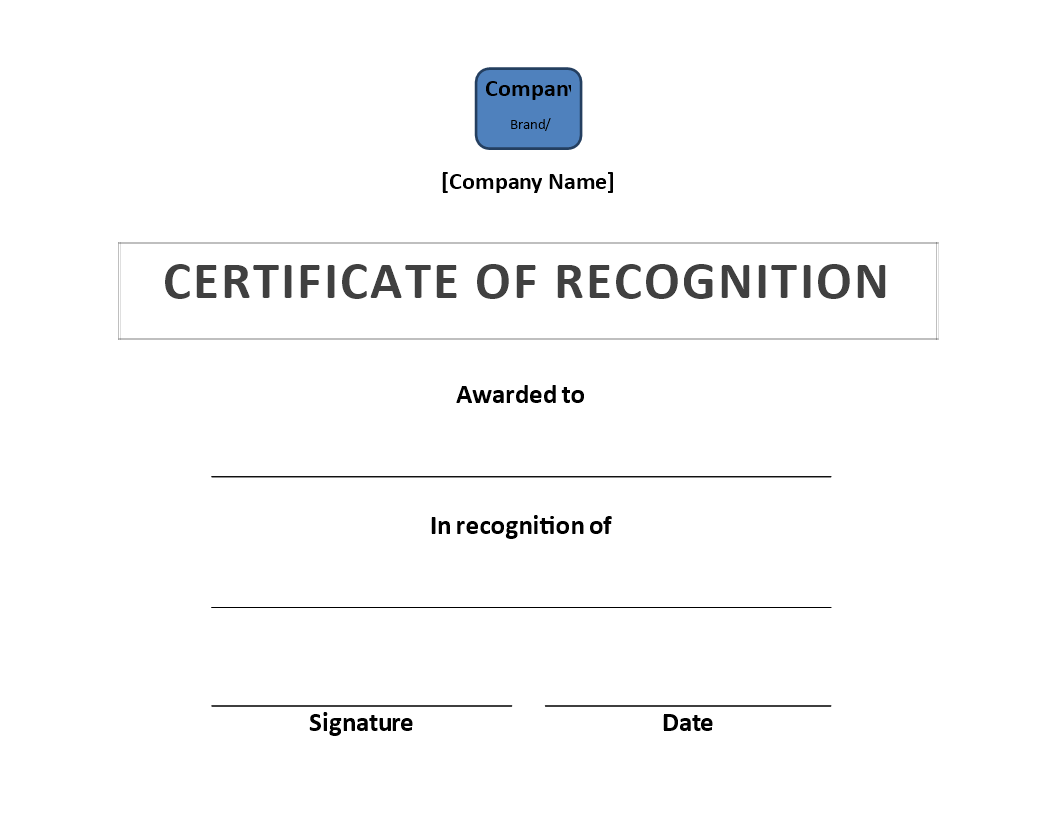 Free Certificate Of Recognition Template Templates At